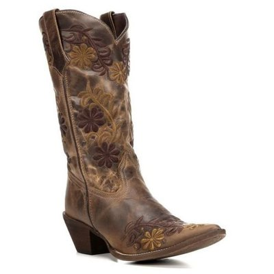 【幫你買】女靴 Rawhide by Abilene Ladies Brown Two Toned Floral Boot 5024