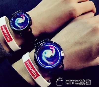 日和生活館 女生手錶LED觸摸屏情侶手錶個性創意發光防水男女學生潮錶S686