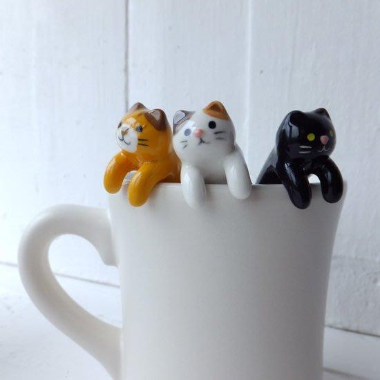 現貨 ◎日本直送◎ 杯緣陶瓷湯匙 三毛貓/黑貓/虎斑貓 療癒系公仔 攪拌匙