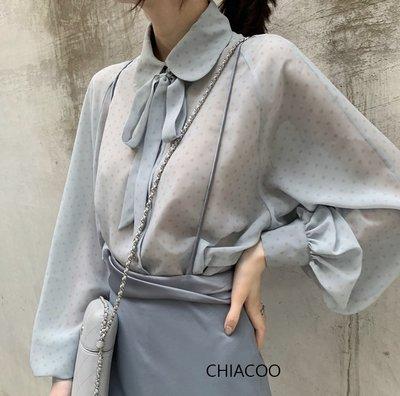 CHIACOO歐美 韓國 復古 燈籠袖 宮廷袖 點點 蝴蝶結 綁帶 領結 雪紡 上衣 雪紡 襯衫 favvi zara
