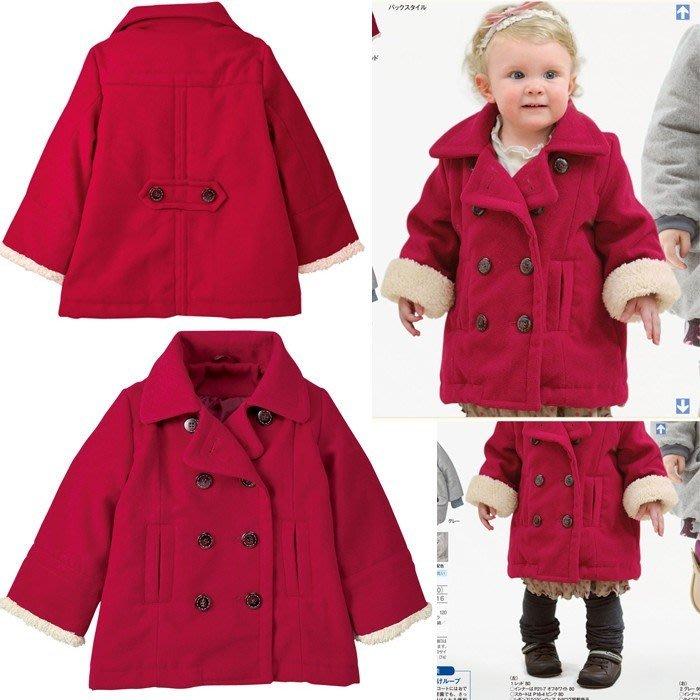 甜美《紅色雙排扣》毛料 大翻領外套(T2)