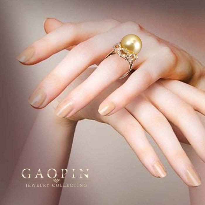 【高品珠寶】15mm天然南洋金珍珠 金珠戒指 女戒 18K金鑽石 #2866