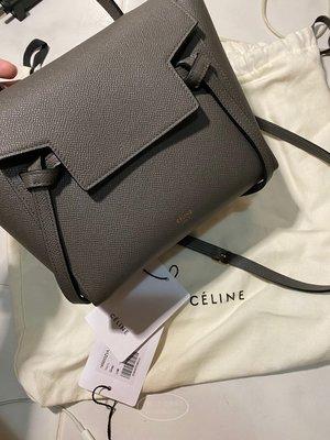 千奢二手正品Celine Micro Belt Handbag In Grained Calfskin大象灰荔枝紋小牛皮
