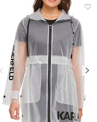 Karl Lagerfeld Paris Logo Translucent Raincoat