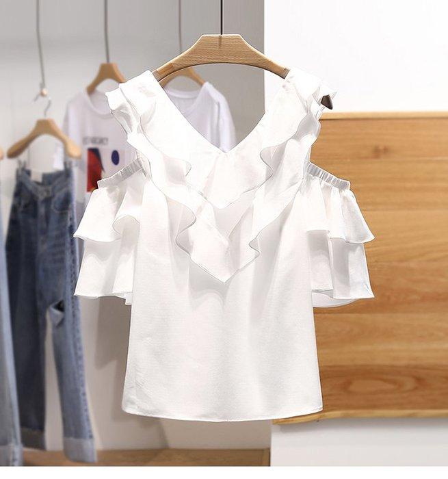【木風小舖】V領 雙層荷葉造型 露肩雪紡衫*2色