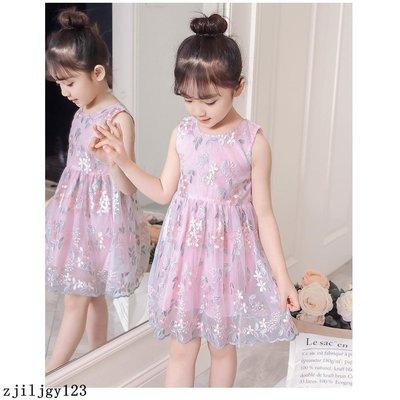 【grocery store】女童連衣裙新款夏季韓版六一表演服中大童樹葉花刺繡公主裙 蓬蓬裙 連身裙 蕾絲洋裝