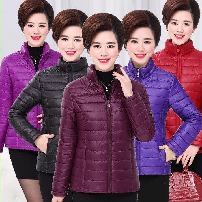 東大門平價  中年婦女短款外套小棉襖,秋冬款輕便媽媽裝棉衣40-50歲大碼棉服  XL--5XL