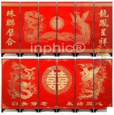 INPHIC-紅色喜慶漆器小屏風裝飾擺飾 精美婚慶 龍鳳呈祥