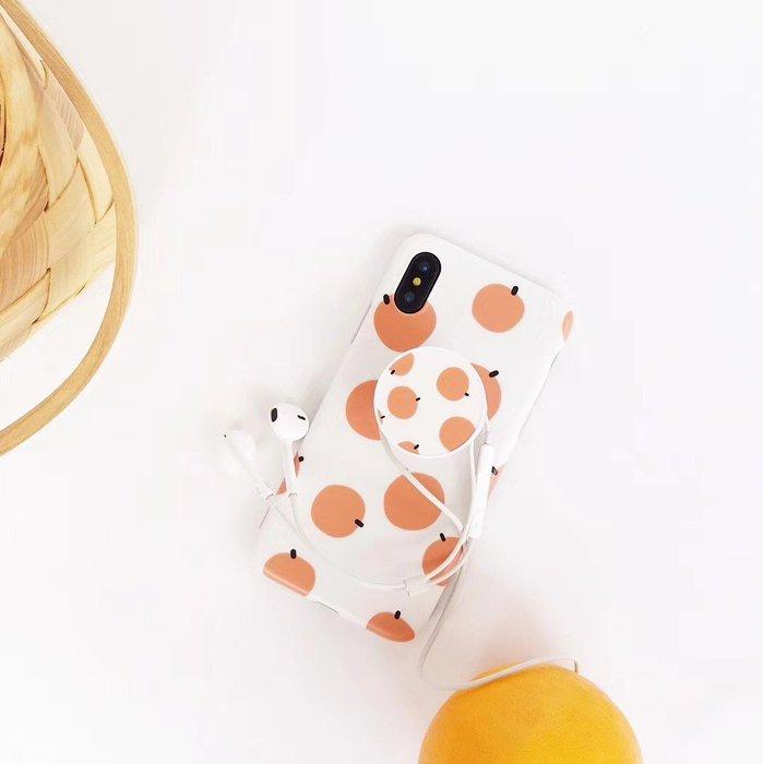 VIVO X9 X20 X21 手機殼 簡約風 橙色波點 滿屏橘子 氣囊支架 軟殼全包 防摔抗震 保護套
