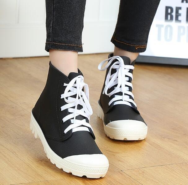 系帶雨鞋 女成人韓國水鞋 雨靴 學生防水短筒防滑膠鞋中筒靴 短靴—莎芭
