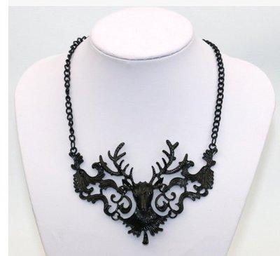 歐美大牌時尚誇張項鏈複古梅花鹿鏤空鎖骨項鏈短款飾品服裝配飾