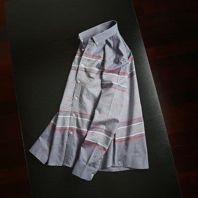潮流男裝水洗條紋長袖襯衣男青年商務時尚休閒襯衫襯衣