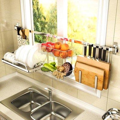 精選 304不銹鋼廚房水槽置物架 壁掛式放碗架碗筷瀝水架水池洗碗收納架