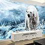 客製化壁貼 店面保障 編號F-749 冰面北極熊 壁紙 牆貼 牆紙 壁畫 背景牆 星瑞 shing ruei