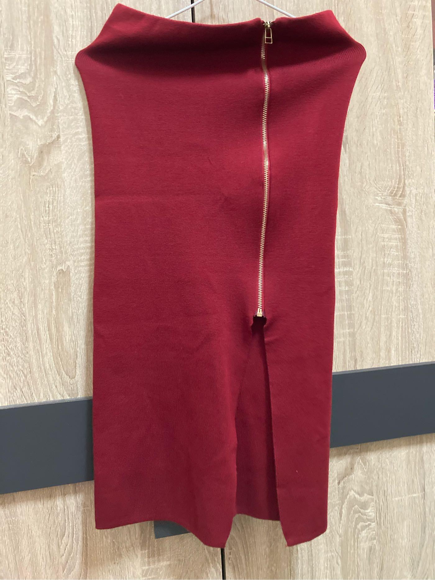 8-9成新!酒紅色針織開衩拉鍊裙,適合喜宴喜酒、尾牙、上班族也適合,適合SML的寶貝