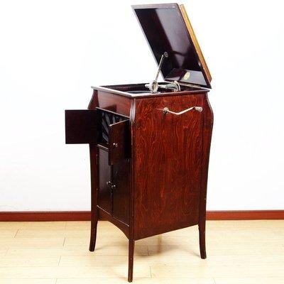 20世紀早期西洋古董Mead落新品地式櫃機手搖留聲機新黑膠唱片機音質良 ZG3705GY08