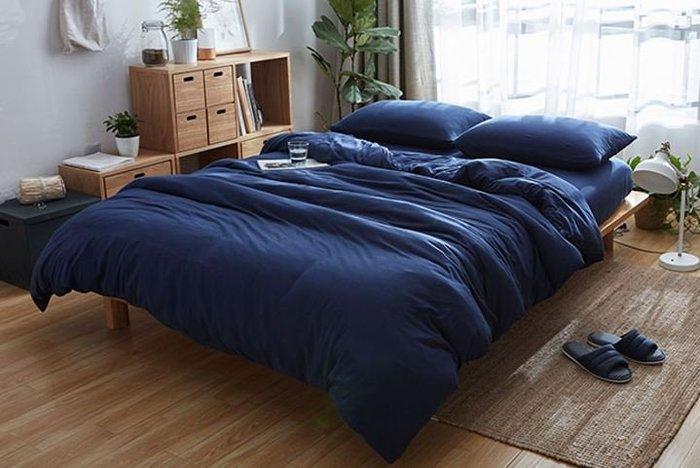 純棉親膚裸睡專用床包組(西雅圖藍) 床包 床單 枕頭套 枕頭 床 棉被 被套 寢具 裸睡 純棉 床包組 拖鞋 室內拖鞋