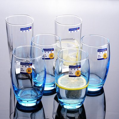威士忌杯 玻璃杯 高腳杯樂美雅玻璃杯透明家用耐熱水杯果汁杯牛奶杯泡茶杯四方杯圓形杯子
