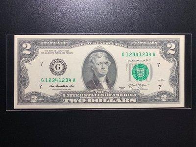(((趣味大叔))) 🇺🇸 2013年稀有2美元12341234大趣味鈔稀有釋出!!