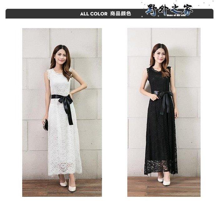 蕾絲洋裝 夏季新款潮流時尚優雅長款波希米亞度假風白色超仙甜美少女裝 【FEEL】
