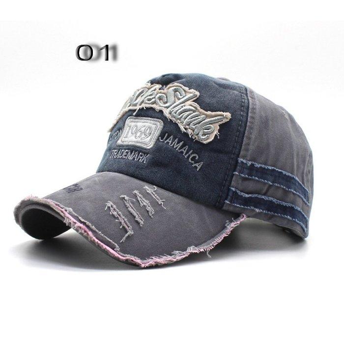 ☆R&M☆情侶款重水洗復古質感破洞設計貼布字母棒球帽(7色)~預購