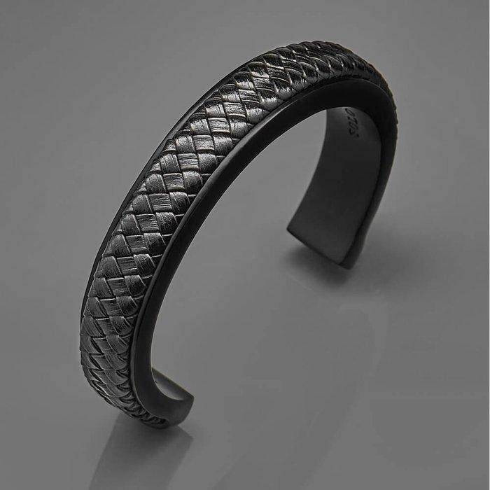美國東村【SOLO】 C型編織皮革手環(黑/棕)