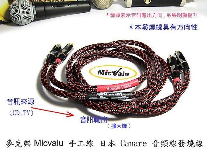 MicValu 手工線日本Canare 音頻線 發燒線 2公尺RCA公*2/RCA公*2 AV轉AV全新否則退費avav