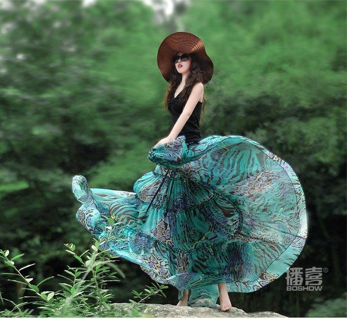 *姑涼家*夏裝新款女 紫色雪紡印花大擺半身裙 長裙兩穿 紫羅蘭