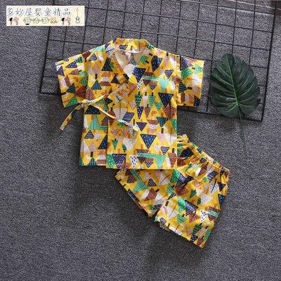~多妙屋~兒童漢服睡衣中國風童裝套裝短袖棉麻男童女童寶寶家居服沙灘服裝