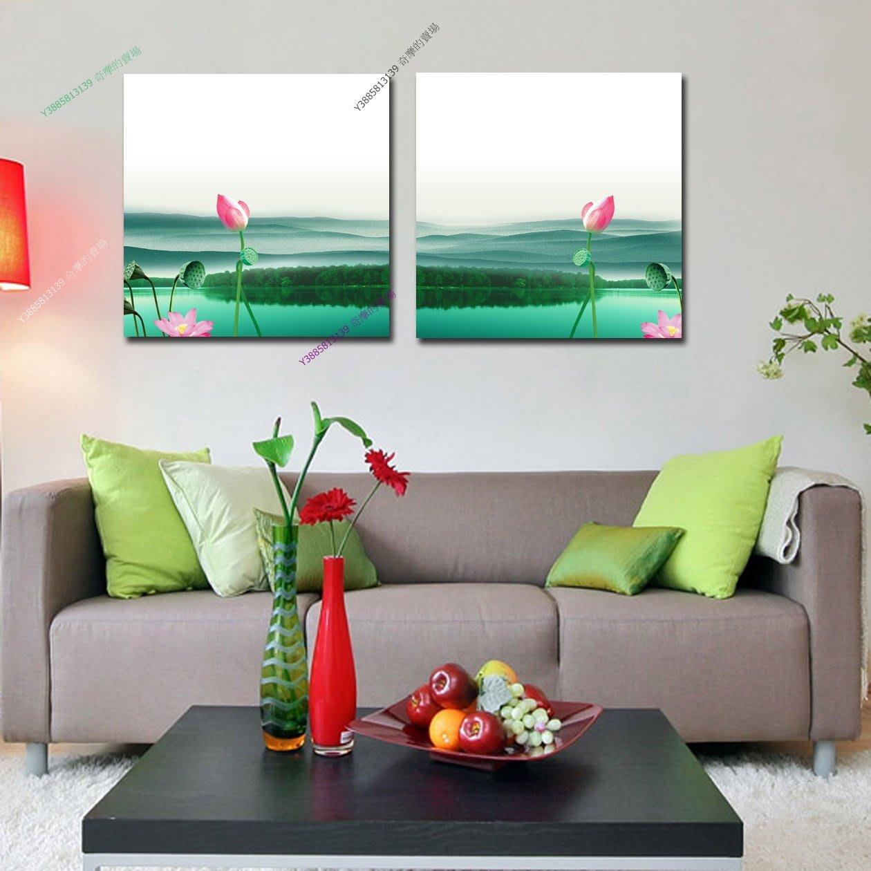 【60*60cm】【厚2.5cm】夏日荷塘-無框畫裝飾畫版畫客廳簡約家居餐廳臥室牆壁【280101_358】(1套價格)