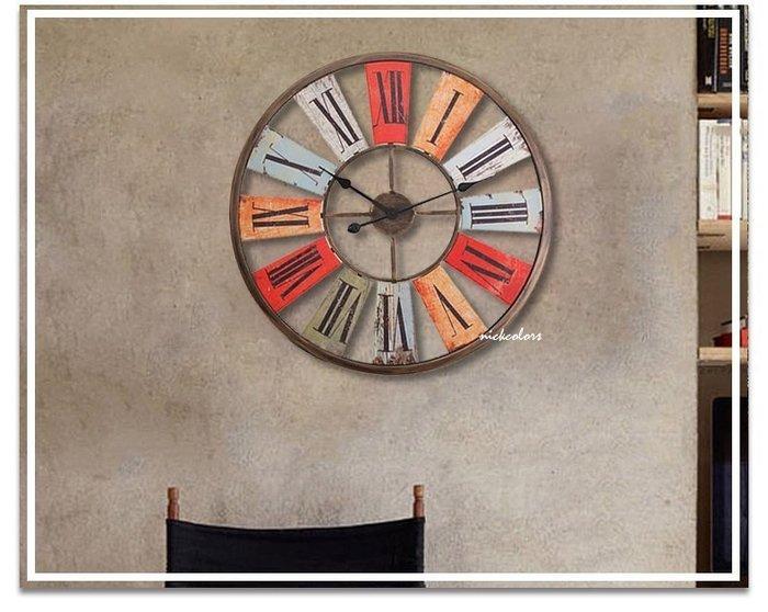 尼克卡樂斯~工業復古68CM大型掛鐘 復古 圓形靜音時鐘 餐廳掛鐘 咖啡廳時鐘客廳掛鐘咖啡廳時鐘工業風掛鐘鄉村風掛鐘