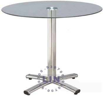 【品特優家具倉儲】A626-11餐桌洽談桌四爪電鍍玻璃桌2尺