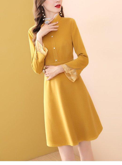 妞妞婚紗禮服~婆婆媽媽黃色修身顯瘦A字裙修身洋裝連衣裙禮服 ~3件免郵