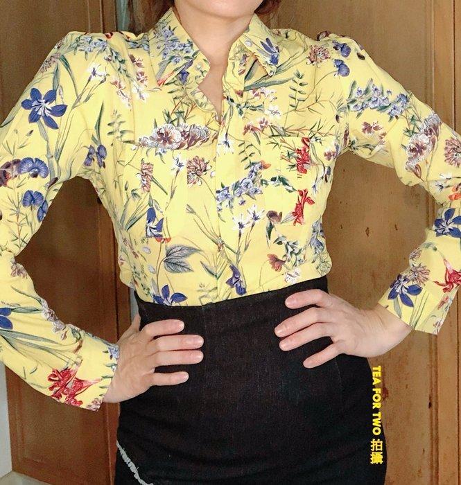 出清特賣,全新有標籤,全新B657,黃色花朵襯衫S號,長袖 - S號