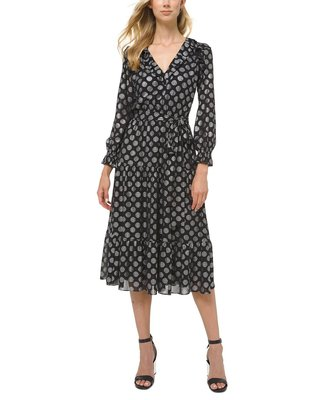 Michael Kors Dot Print Ruffled A-Line Dress