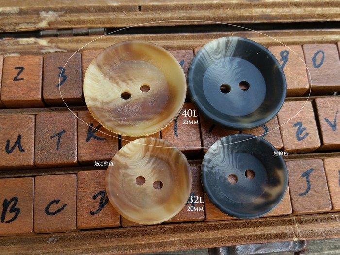 DAda緞帶‧I81108.40L-25mm仿牛角紋薄殼碗型2孔鈕扣(自選)2個$20【意大利進口】