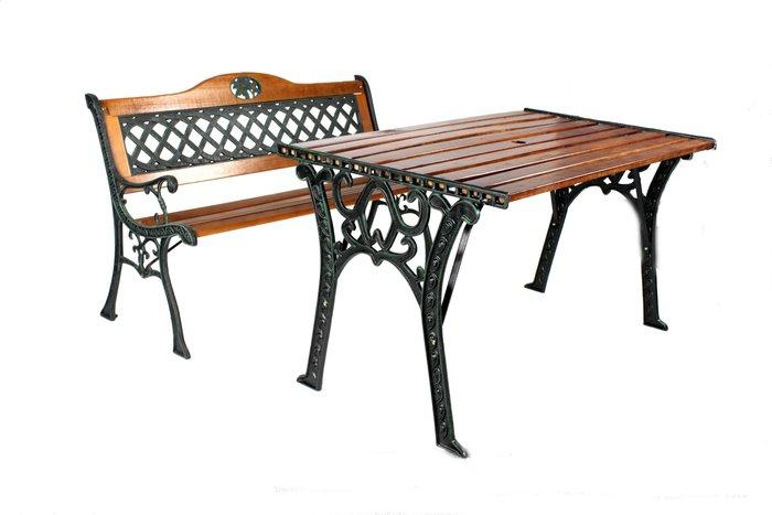 戶外家具Brother公園椅 ~網格雙人鑄鐵公園椅+四尺鑄鐵公園桌~兄弟牌庭園休閒必備!!