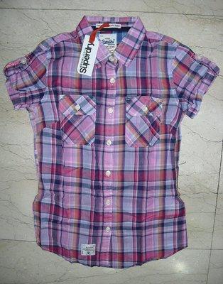 現貨全新正品/極度乾燥Calamity Dandy Shirt粉紅格紋薄襯衫~XS