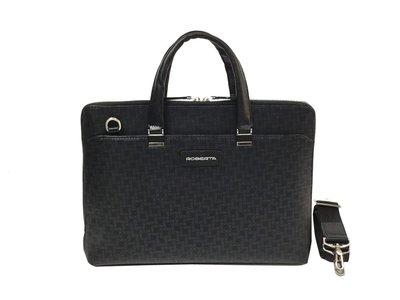 【菲歐娜】7440-(特價拍品)ROBERTA牛皮配乳膠皮手提包附長帶(黑) RM-8910