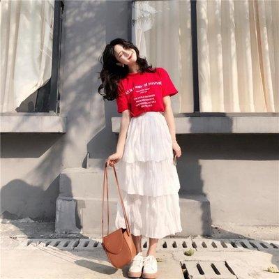 夏季女韓版chic鬆緊高腰褶皺感溫柔仙女風蛋糕裙中長款半身裙