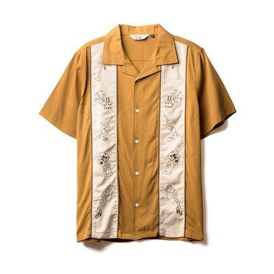 【RETRODANDY】Cuba's Ruin 古巴領刺繡保齡球襯衫(芥末黃 Mustard)