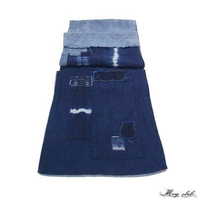 MONUMENT買取店 -  Indigo Patchwork Boro Shibori 藍染圍巾 古著老布 拼布