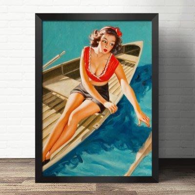 復古裝飾畫俏麗舊時光pin-up美國藝術性感女郎美女神