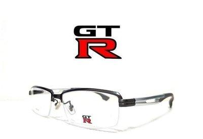 《黑伯爵眼鏡精品》GTR NISSAN 斯文有型 超輕量 半框式 鐵灰槍色 純鈦金屬 TITANIUM 光學鏡架