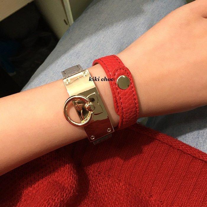 ♥kiki choc♥歐系 個性金屬圓形圈圈扣環鈕釦皮質皮革手環皮飾手環手鍊手鐲非 Vita fade