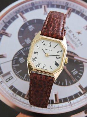 原裝真品 Zenith 真力時 先力 正18K金 750 典藏手上鍊機械古董女錶