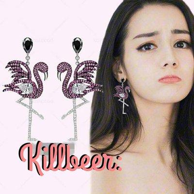 KillBeer:Bling Bling之 歐美品牌設計款火烈鳥水鑽925防過敏銀針耳環Flamingo Earring