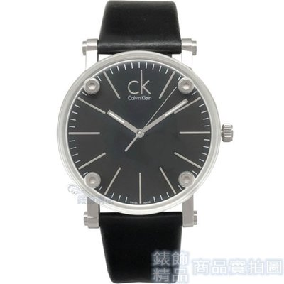 Calvin Klein CK K3B2T1C1 手錶 透視鏡面 黑面 黑皮帶-大【錶飾精品】