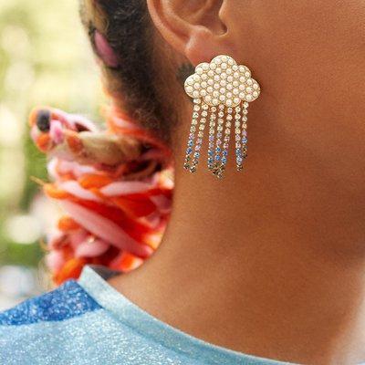小米粒飾品~bauble同款白色云朵耳環 設計師款創意烏云雨滴耳墜合金鑲鉆耳飾