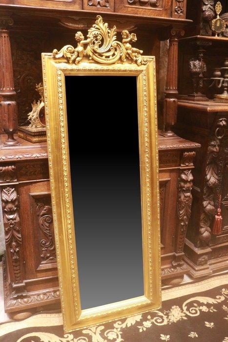 【家與收藏】極品稀有珍藏歐洲古董法國凡爾賽華麗巴洛克風格天使雕花玄關大掛鏡/穿衣鏡